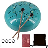MITUTEN Steel Tongue Drum 8 Notes 6 Inches Chakra Tank Drum With bag, Music Score for Musical Education Yoga Meeting Office Home (Lake Blue)