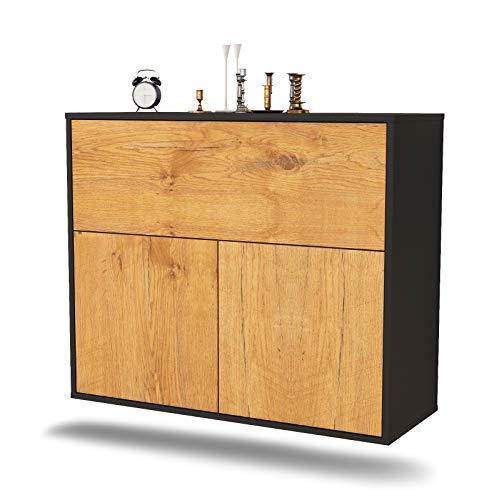 Dekati Sideboard Irving hängend (92x77x35cm) Korpus anthrazit matt | Front Holz-Design Eiche | Push-to-Open
