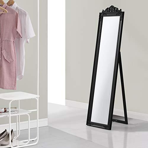 [en.casa] Miroir de Grande Taille sur Pied Psyché Inclinable Solide Cadre Style Baroque Bois dEucalyptus 160 x 40 cm Noir Mat