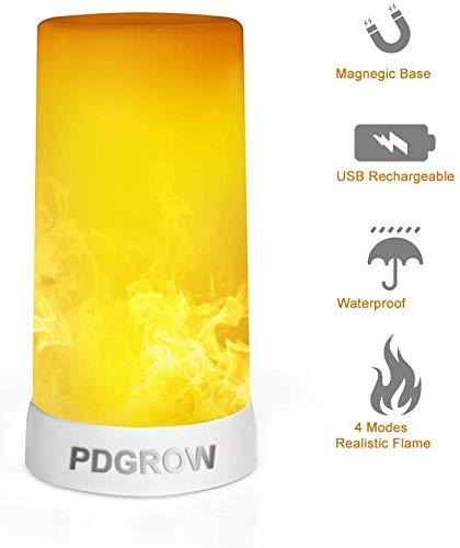 LED Flamme Lampe, PDGROW USB wiederaufladbare Flamme Nachtlicht, Schreibtisch / Tischlampe wasserdicht mit Magnetfuß & Metallhaken für Weihnachten, Party, Indoor / Outdoor