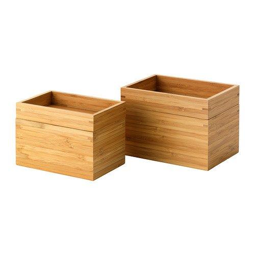 Ikea Dragan Bambus-Boxen mit Deckel, 2 Stück