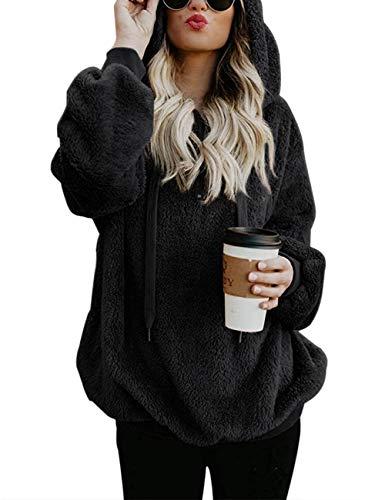 iWoo - Sudadera con capucha para mujer, forro polar, para otoño e invierno, de manga larga, monocolor Sudadera con capucha negra. XL