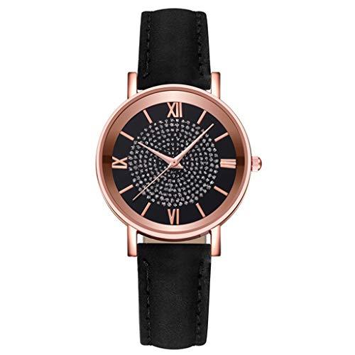 Fenverk Armband aus echtem Leder oder Edelstahl, analoge Damen Armbanduhr mit Gehäuse aus Edelstahl(Black#02)