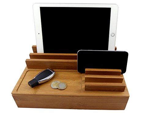 Stazione di ricarica largeper smartphone e tablet, in legnodirovere laccato–Caricatore USB multifunzione