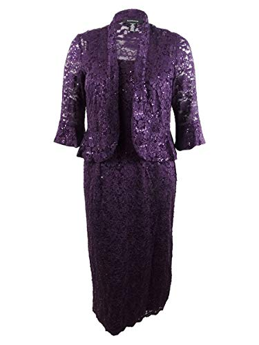 R&M Richards Women's Two Piece Lace Long Jacket Dress Missy, Plum, 16