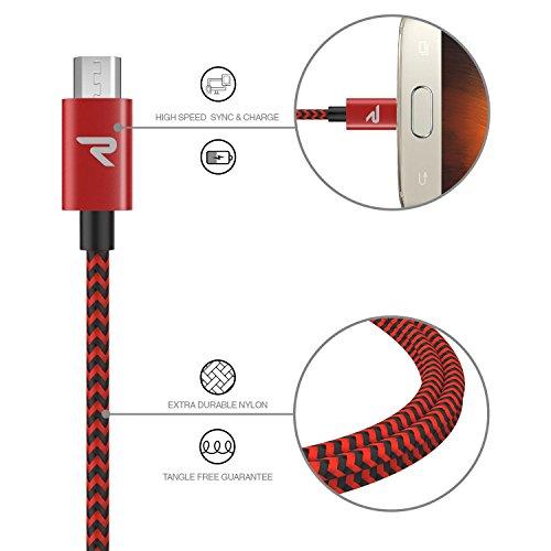 RAMPOW Micro USB Ladekabel, 0,2M/ 1-Stück, mit Nylon Geflochtenes Micro USB Schnellladekal Geeignet für Android Smartphones, Samsung Galaxy, Huawei, Kindle und Mehr - Rot