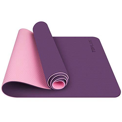 TOPLUS Tapis de Yoga, Tapis Gym - en TPE matériaux Recyclable, Ultra antidérapant et Durable, 183x61x0.6 cm, Non Toxique, Tapis de Sol pour Sport, Fitness (Violet)
