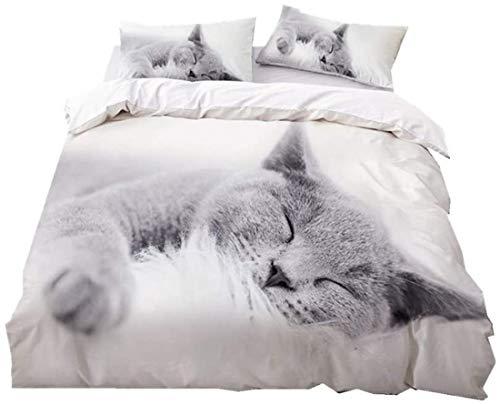 SK-PBB Huisdier Serie Dekbedovertrekset Cat Hond Egel Design zwart en wit enkel dekbedovertrek en 1 kussensloop, microvezel