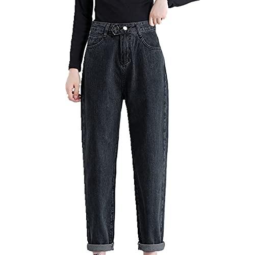 N\P Mujer semielástico de talle alto pantalones vaqueros de pierna recta de las mujeres cintura elástica en el, gris, XL