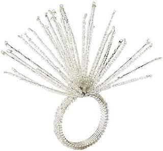 Spider Bead Burst Napkin Ring In Crystal & Silver, Set of 4