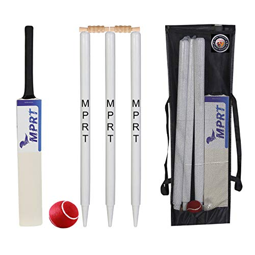 MPRT Wooden Cricket Kit for Tennis Ball Combo for Age Group 12-14 Years, Size 5, Wood