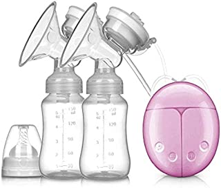 THERESA Double Electric Breast Pump With Milk Bottle Infant USB BPA free Powerful Breast Pumps Baby Breast (Feeding Pink)
