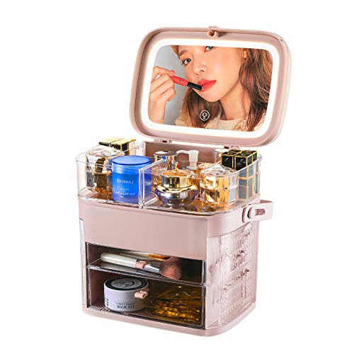 化粧品収納ボックス LED鏡付き 三段調光可能 メイクボックス 大容量収納 防水 防塵 強い耐久性 整理簡単 引き出し小物 アクセサリーケース付き おしゃれ 高級感 自宅用 出張 海外旅行 持ち運び便利 (ピンク)