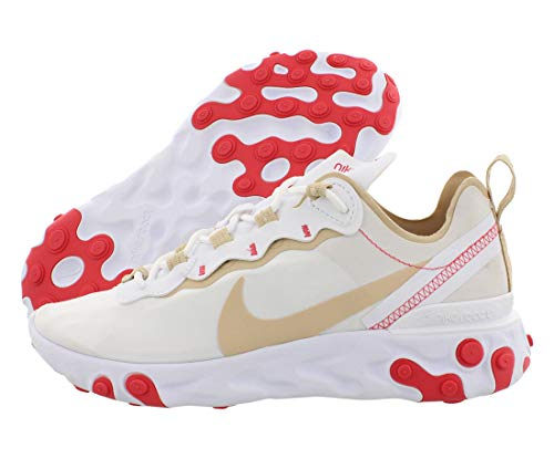 Nike Damen W React Element 55 Leichtathletikschuhe, Mehrfarbig (White/Desert Ore/White/Ember Glow 000), 41 EU