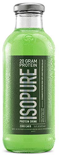 Isopure 20g Protein Drink, 100% Whey Protein Isolate, Zero Carb, Keto Friendly, Flavor: Apple Melon, 12 Count