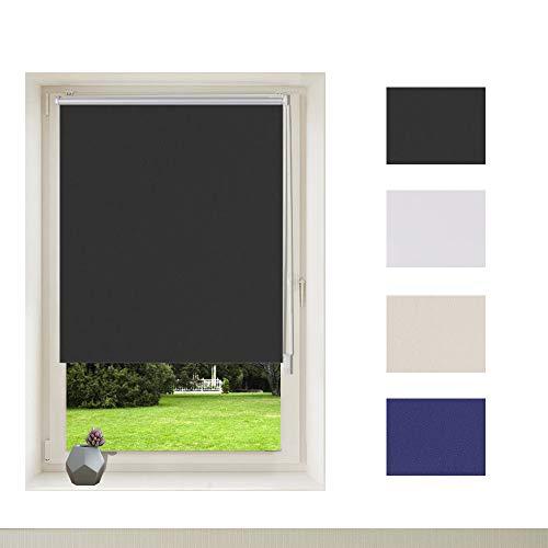 OBdeco Verdunkelungsrollo KlemmfixThermorollo Sonnenschutz 100×160cm Schwarz Seitenzugrollo ohne Bohren Silberbeschichtung Sichtschutz für Fenster & Tür