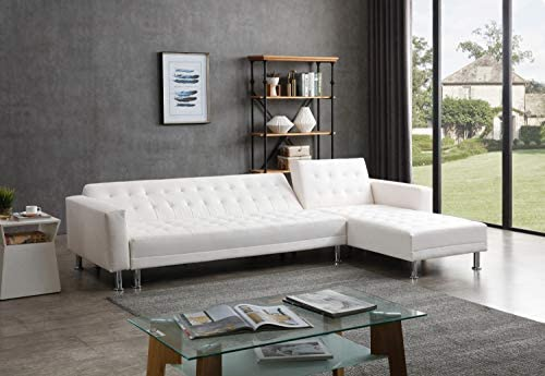 Best Greatime S2605 Leatherette Convertible Section Sofa