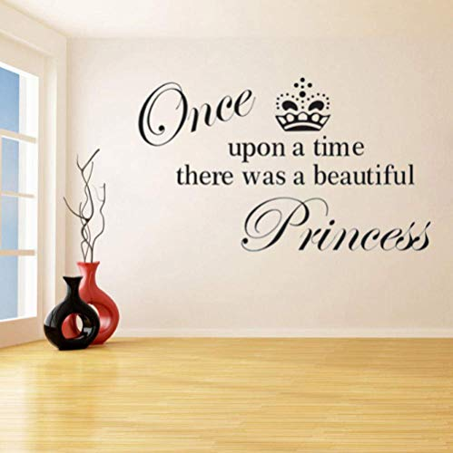 Érase Una Vez, Había Una Etiqueta De Pared De Vinilo Con Un Hermoso Patrón De Letras De Princesa Para Un Mural De Arte De Niña De Habitación Infantil De Guardería 34X57Cm