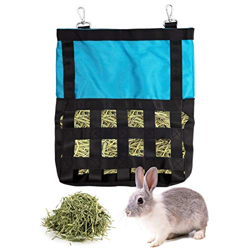 SINBLUE Comedero automático para animales pequeños, bolsa para alimentar heno de conejo para mascotas de pie, manejador de heno Oxford, tela azul