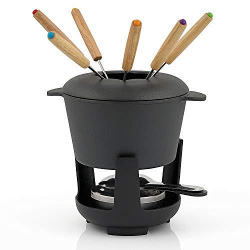 BBQ-Toro set de fondue de hierro fundido para 6 personas set de fondue 13 piezas con quemador y tenedor cantidad de llenado 1 litros de queso de inducción de chocolate (Negro/Ya Marcado)