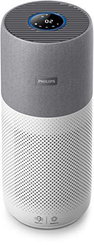 Philips AC3033/10 Luftreiniger Connected 3000I entfernt bis zu 99,9{1a10292ffe10c6947b4b053da4c5f2b4ac198536c807479806cf9d7ca23946cb} der Viren und Aerosole* aus der Luft (für Allergiker und Raucher, bis zu 104M², Cadr 400M³/H, mit App-Steuerung) weiß/silber