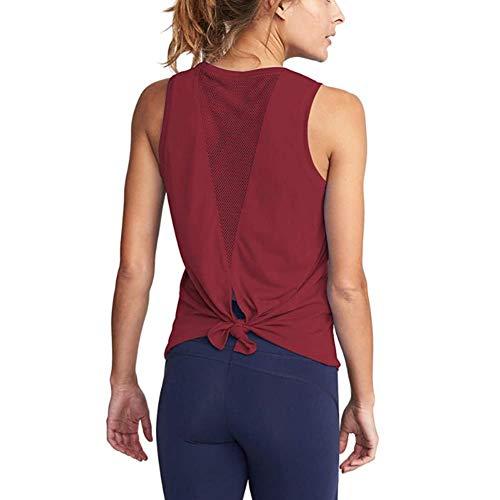 XITANG Yoga Fitness - Chaleco deportivo para mujer, sin mangas, para yoga, con nudo abierto, para fitness, 1 unidad, color rojo