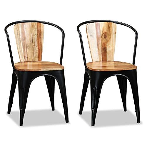 NBVCX Renovación del hogar Juego de 2 sillas de Comedor Sillas de Sala de Estar Estilo Tolix de Madera Maciza de Acacia Silla de restaurantes