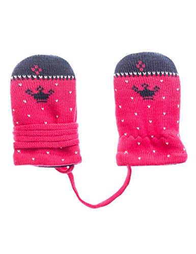 maximo Baby-Mädchen Fausthandschuh Krone ohne Daumen Fäustlinge, Mehrfarbig (navy/dunkelpink 4857), One size (Herstellergröße: 6M)