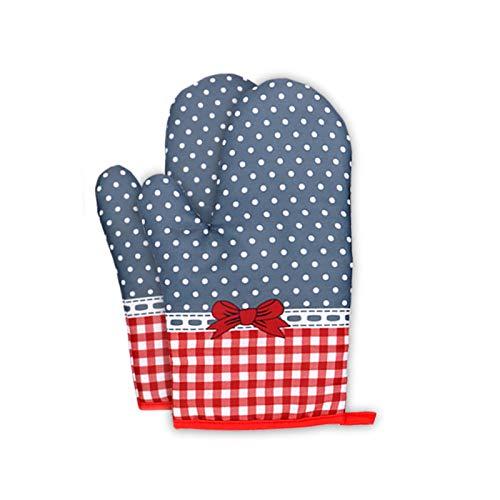 KAIGE 1 par de guantes de horno resistentes al calor, gruesos, resistentes al calor, de algodón y poliéster, resistentes al fuego, soporte para ollas, para proteger las manos