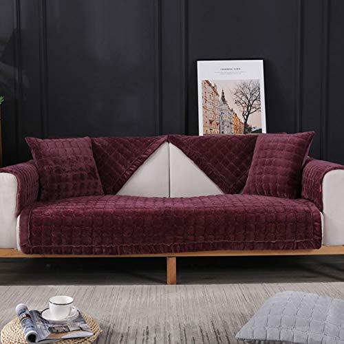 Forma L Funda De Sofá Súper Grueso Y Cálido Moderno Jacquard Elasticidad Elasticidad Corner Couch Cubre Sofá Seccional De Tela Cubierta De Sofá Funda Elástica Para Sofá-Púrpura Oscuro 70x180cm