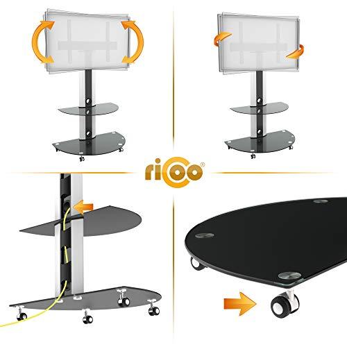 RICOO LCD TV Ständer FS0502 Standfuss Glas Standfuß Fernsehstand LED Fernseher Stand Halterung Schwenkbar Drehbar mit Rollen Möbel Rack max. VESA 400×400 Universal inkl. DVD Receiver Glas Regal Ablage - 3