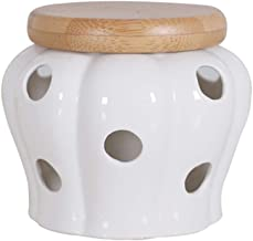 BESTONZON White Ceramic Canister Jar Container for Food Storage with Bamboo Lid,Kitchen Canister with Hole,Garlic and Ginger Storage Container