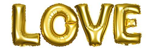 DekoRex 'Love armore Palloncino stagnola Ghirlanda Lettere 40cm d'Aria Decorazione Oro