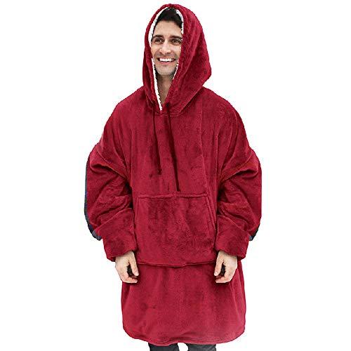 Hombres y Mujeres Pijamas universales para Adolescentes Abrazo Sudadera con Capucha de Gran tamaño Manta Pijamas de Felpa Pijamas de sofá Super Suave