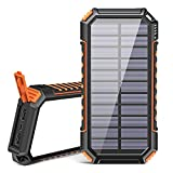 Cargador Solar 26800mAh, Riapow Power Bank Solar con 60 Leds Brillantes y 3 Salidas USB, Cargador de Teléfono Solar con Carga Rápida Batería Externa para iPhone Samsung Camping y Exteriores