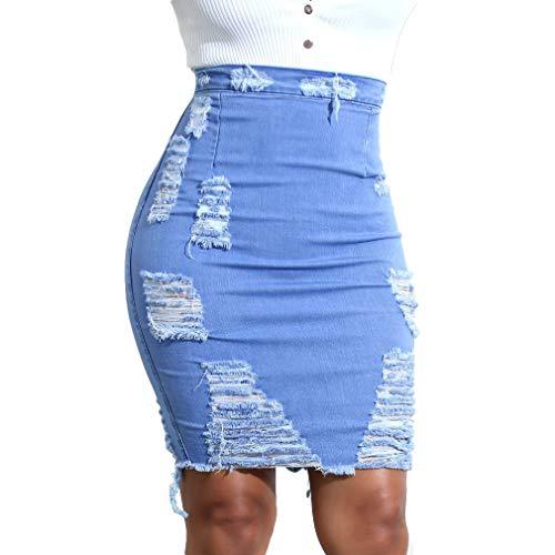 Hongxin Falda para Mujer Dobladillo Irregular Mini Falda Elástico Delgada Vaquera Faldas con Abertura Trasera Cintura Alta Rotos Corto Falda
