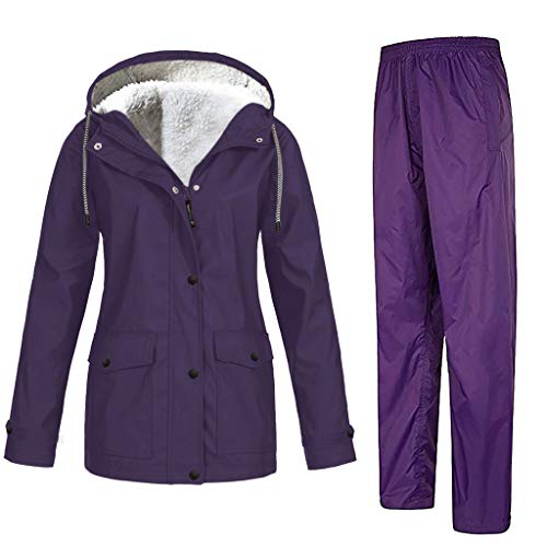 AMUSTER Damen Outdoor Sportjacke Mantel Hosenanzug Set Frauen Plüsch Verdicken Outdoor Plus Größe Winddichter Hosenanzug mit Kapuze