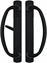 Rockwell Charlotte Sliding Door Handle in Black Finish fits 3-15/16 inchCTC Screwholes on door with a Mortise lock(not included) application up to 1-3/4 inch thick sliding patio door.