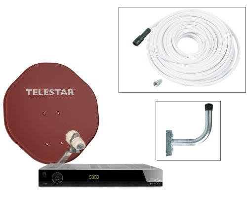 Telestar HD-Sat-Komplettpaket (45cm Sat-Spiegel ziegelrot, Skysingle LNB, Diginova 10 HD, 10m Koaxkabel, 30cm Wandhalter)