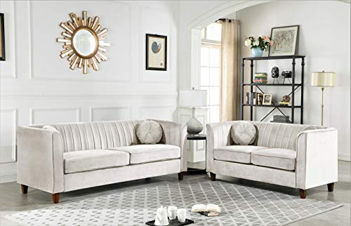 Container Furniture Direct Arminta Sofa and Loveseat Living Room Set, Beige