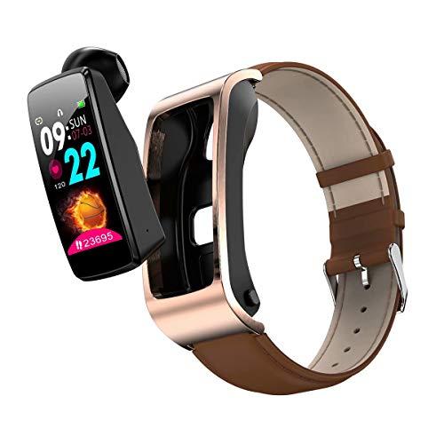 TAOYATAO Reloj inteligente impermeable con monitor de frecuencia cardíaca, monitor de actividad con contador de pasos, contador de calorías, podómetro (cuero marrón 12)