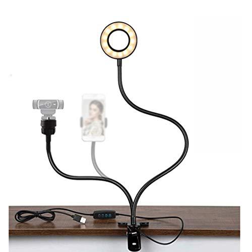 WYHM Escritorio Luz del Anillo de Selfie con Los Brazos y el Soporte de Teléfono Flexibles, Clip de Teléfono Cámara Laptop LED Lights para Maquillaje de Transmisión en Vivo Universal