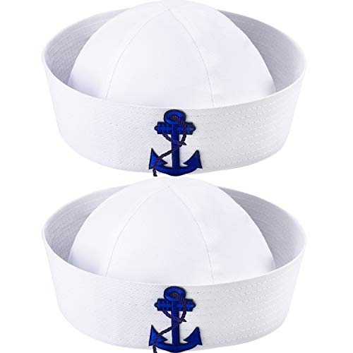 SATINIOR 2 Packs White Sailor Hat Nautical Hats Adults Yacht Captain Costume Hats, for Men and Women, Great Family Cruise Accessory Yacht Hats for Dress Up Party, approx. 22.8 inch/ 58 cm in circumfer