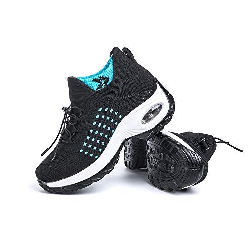Basket Femme Chaussure de Sport Sneakers Tennis Air Course Running Fitness Gym Athlétique Knit Respirante Confortable Outdoor Noir Taille 40