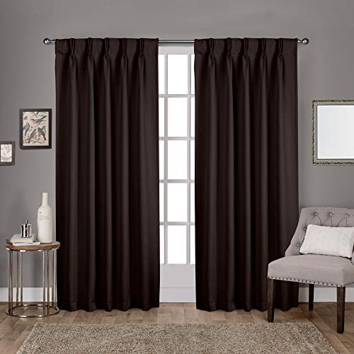 Exclusive Home Curtains Sateen Twill Woven Blackout Pinch Pleat Curtain Panel Pair, 84' Length, Espresso, 2 Piece