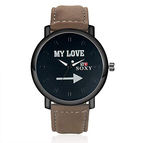 ZHANGZZ Booty Uhr High-End-Uhr 2017 Mode Männer Meine Liebe Uhr SOXY Leder Uhr (Color : 2)