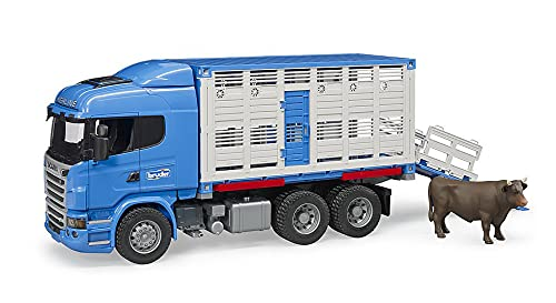 Bruder 03549–Camión bétaillère Scania r-série con 1Animal–Azul
