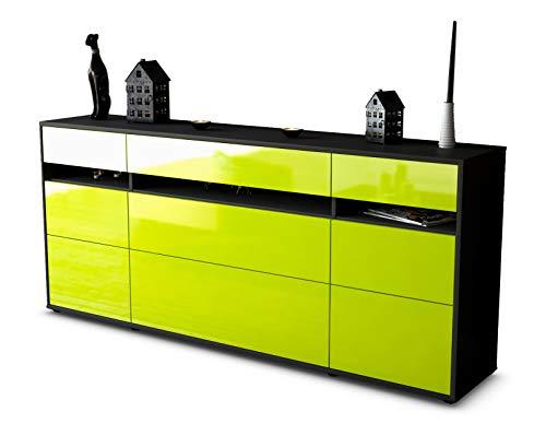 Stil.Zeit Sideboard Giada/Korpus anthrazit matt/Front Hochglanz Limettengrün (180x79x35cm) Push-to-Open Technik & Leichtlaufschienen