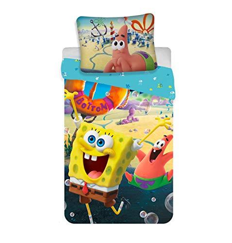 Jerry Fabrics Juego de ropa de cama de Bob Esponja, 140 x 200 cm, 70 x 90 cm