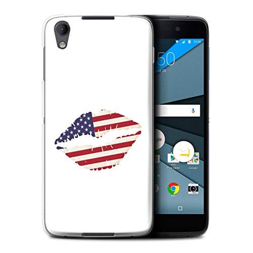 Stuff4 Telefoonhoesje/Cover/Skin/BB-CC/USA America Pride Collectie BlackBerry Neon/DTEK50 Ik hou van Amerika Lippenstift Kus